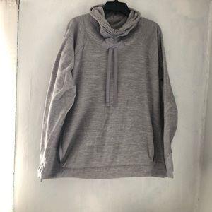 Gray fleece cowl neck